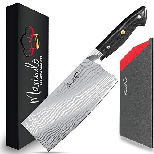 Marindo® Chinesisches Kochmesser Edelstahl | 18cm Klingenlänge | Küchenbeil mit dreifach genietetem Holzgriff | Hackmesser chinesisch | Fleischmesser extrem scharf | Inkl. Geschenkbox