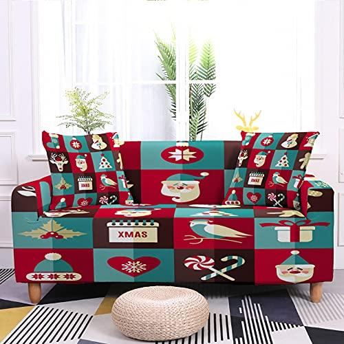 WXQY Feliz Navidad Funda de sofá elástica Funda Protectora de Muebles a Prueba de Polvo Funda de sofá Antideslizante Envuelta herméticamente A1 1 plazas