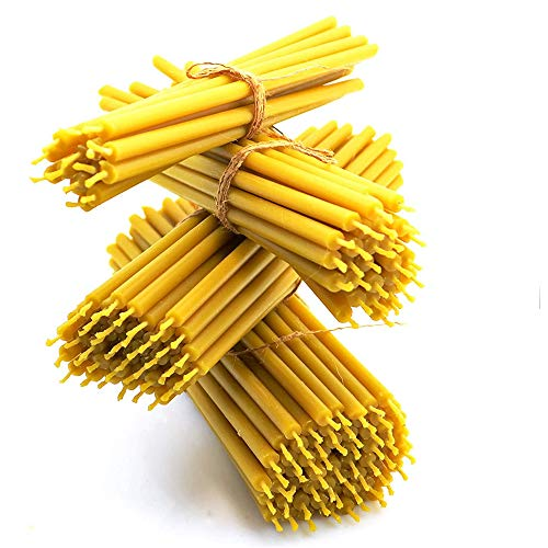 """Nontoxic Natural Beeswax Candles Pure Yellow Bee Wax with Honey Scent and Cotton Wicks Eco-Friendly Candle for Decoration Parties Birthday Cake Toppers - Honey Aroma 7"""" 15-Pack Prayer Candles 1104408"""