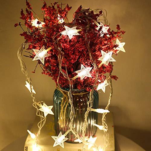 CJKBD LED stellato Giorno di Natale piccola rete di luci a luce rossa plug-in-Little Star 10M colore