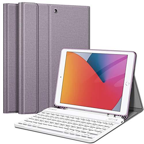 Fintie Tastatur Hülle für iPad 10.2 Zoll (8. & 7. Generation - 2020/2019), Soft TPU Rückseite Gehäuse Schutzhülle mit Pencil Halter, magnetisch Abnehmbarer Tastatur mit QWERTZ Layout, Lavendel