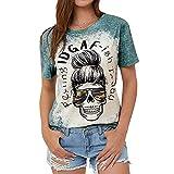 HUPAI Women's Skeleton Pattern Printing Round Neck Short Sleeve T-Shirt(Green,X-Large)