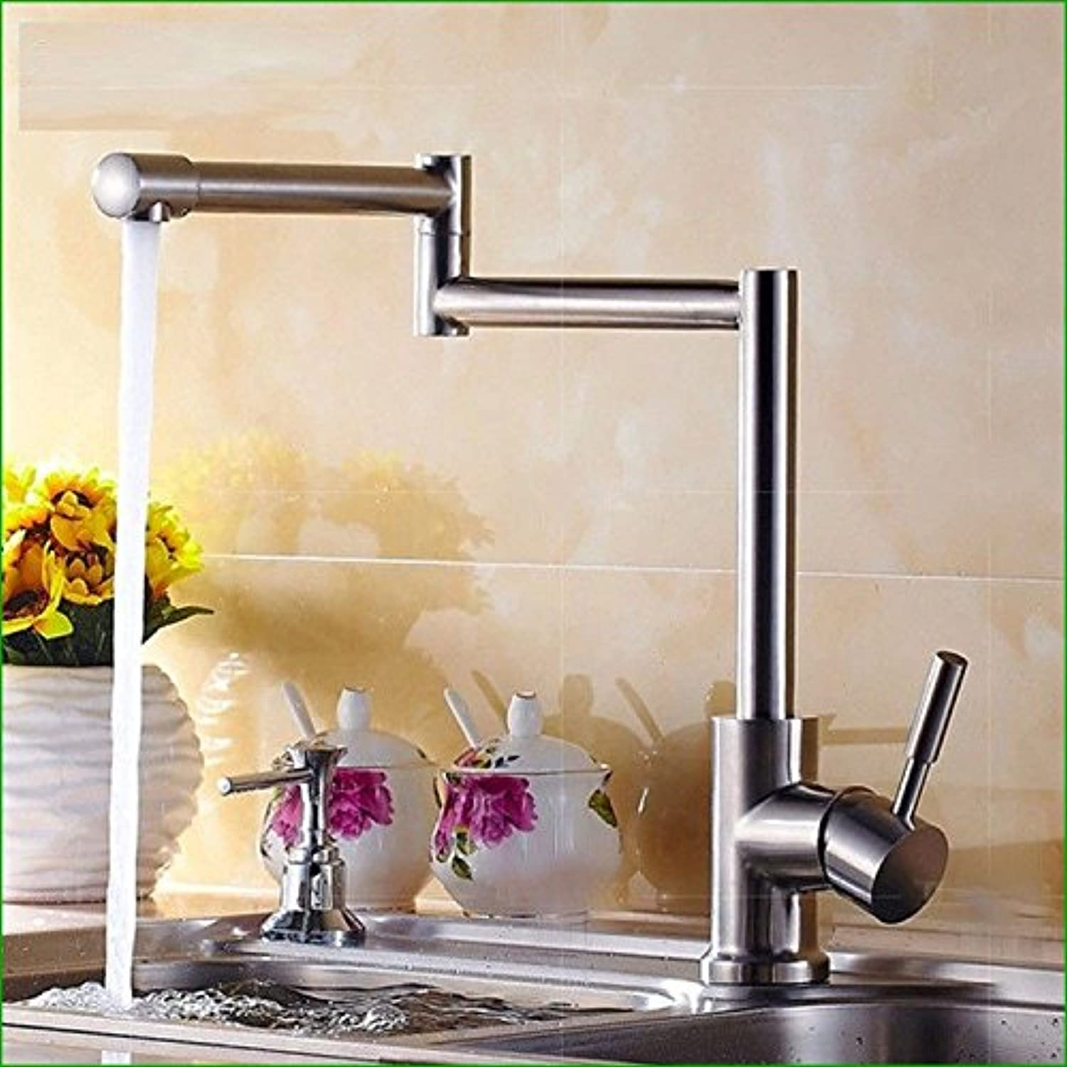 Commercial Single Lever Pull Down Kitchen Sink Faucet Brass Constructed Polished Cold Mixing Water Faucet Stainless Steel Faucet Kitchen Folding Faucet Caipen Drawing Tap