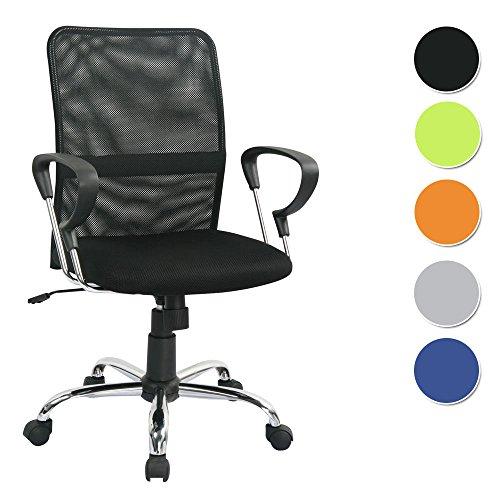 SixBros. Sedia da Ufficio, Sedia da scrivania, Sedia da Ufficio Girevole, Altezza Regolabile, con braccioli, Nera - H-8078F-2/1322