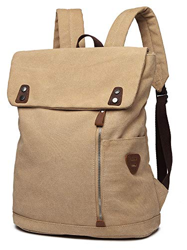Scioltoo Canvas Leather Backpack Vintage Laptop Book Bag Women's Backpack Purse High Best Capacity Casual Traveling Backpack for Men and Women Khaki A-KHAKI
