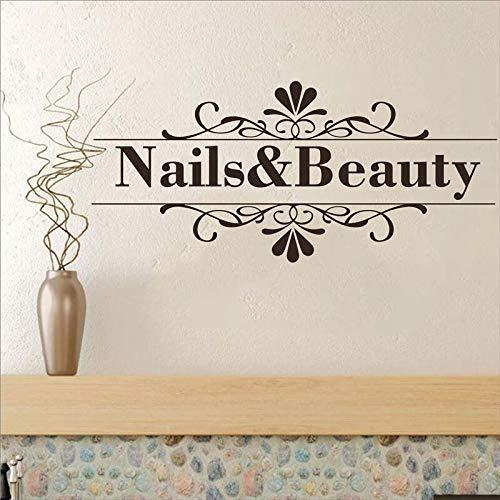 Nail Beauty Salon Wall Sticker Nail Shop Hands Spa Art Design Manicure Wall Decal Vinyl Durable Custon Text Wall Decal 120X54Cm
