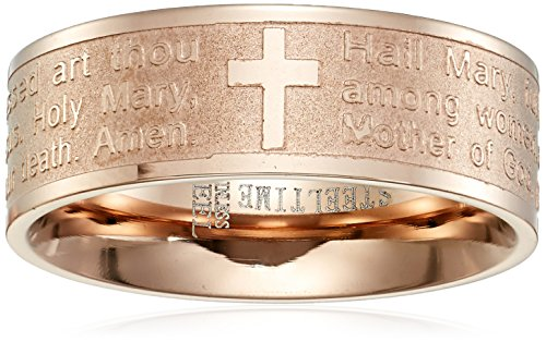 Amazon Collection Steeltime 18k Rose Gold Plated Hail Mary Prayer Ring, Size 10