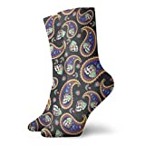 BJAMAJ Unisex Socken Totenkopf Blume Bakterien Interessante Polyester Crew Socken Erwachsene Socken Baumwolle