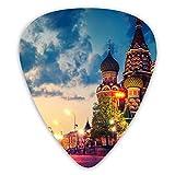 ロシア モスクワ市 赤の広場 大聖堂ギターピック ティアドロップ型 ピック 12枚セット 三種類厚さ 0.46/0.71/0.96mm*4 収納ケース付き 初心者 ギター用 練習用 可愛い ハードギターピックトライアングル マンドリン ベース アコースティック エレクトリックギター用ピックセット プレゼント