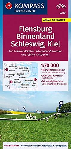 KOMPASS Fahrradkarte Flensburg Binnenland, Schleswig, Kiel 1:70.000, FK 3310: reiß- und wetterfest mit Extra Stadtplänen (KOMPASS-Fahrradkarten Deutschland, Band 3310)