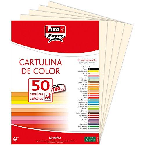 Fixo - mod. 11110344–Confezione di 50cartoncini, formato: A4, colore: avorio