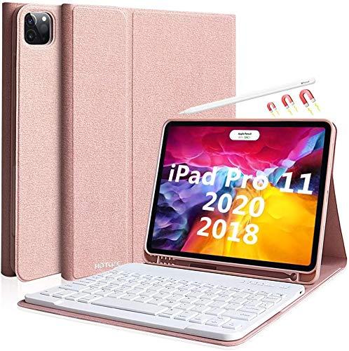 Tastiera iPad Pro 11 2020 (2nd Generazione )/iPad Pro 11 2018 Custodia, Tastiera Italiana Senza Fili Bluetooth Staccabile-Cover Tastiera Magnetico con Slot per Penna e Staffa Multi Angolare-Champagne