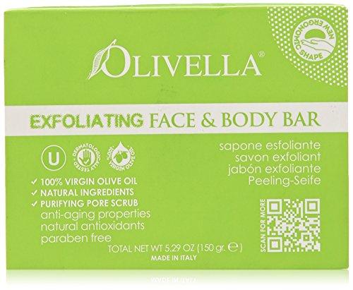 Olivella Exfoliating Face & Body Bar Soap With 100% Virgin Olive Oil - 5.29 Oz