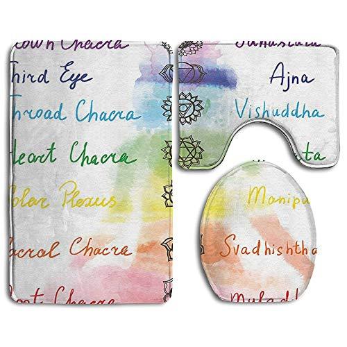 N\A Tapis de Salle de Bain Chakra Brushstroke Inspiré Lotus Pose Chakra Spots in The Body Faith and Harmony Icon Ensemble de Tapis de Bain 3 pièces Tapis Contour et Couvercle