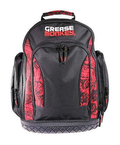 Grease Monkey Tool Backpack, Waterproof Tool Organizer & Carrier, Black & Red Carflage (GM-22419)