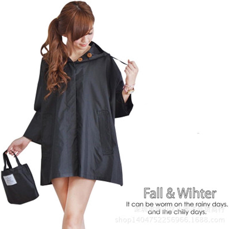 MXueei Raincoat Women's Loose Raincoat Cute Fashion Outdoor Personality Female Adult Windbreaker Raincoat Poncho (color   Black)