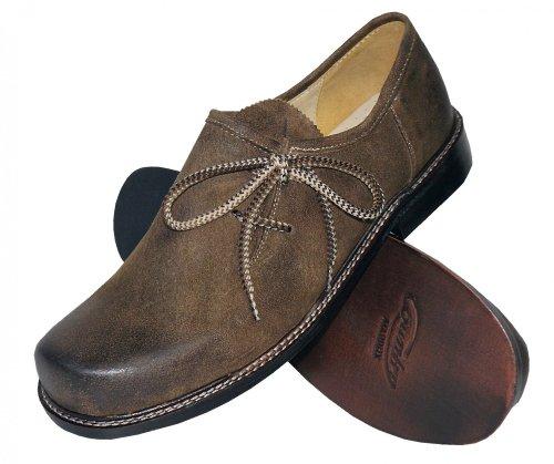 Trachtenschuhe Herren Haferlschuhe Trachten-Schuhe Leder braun antik Ledersohle Schnürschuhe Tanzschuhe Lederschuhe Glatte Sohle für Tänzer Plattler zur Lederhose zum Tanzen, Größe:48