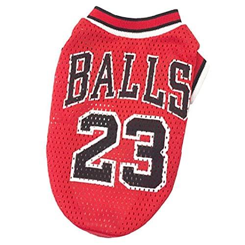 Liadance Ropa de Perro Baloncesto Uniforme de Malla Camiseta Transpirable T-Shirt Perros Disfraz de Baloncesto Fans para Perros de Mascotas Gatos Red M