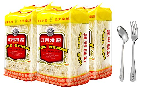 Kong Moon Mei Fun Rice Stick Noodles Rice Vermicelli Net WT: 16oz Pack Comes with Free Vipo Brand Fork and Spoon (4-Pack)