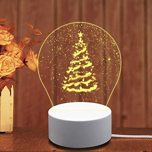 LED Nachtlicht 3D, WAWJ Nachttischlampe Schreibtisch Lampen Geburtstagsgeschenk Party Wohnkultur Weihnachten (Baum)