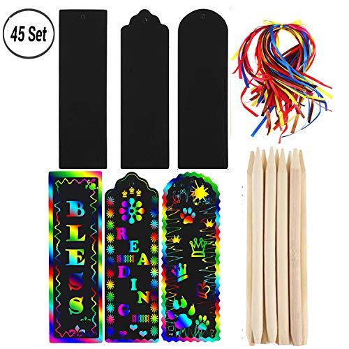 45 Set Magic Scratch Rainbow Segnalibri per kit, Etichette regalo fai-da-te di carta arcobaleno graffiato con corda colorata e stilo in legno per i bambini in festa.