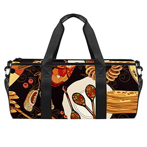 Dibujado a mano Rusia cocina y comida tradicional bolsa de transporte de lona bolsa de viaje para gimnasio deportes baile viaje Weekender