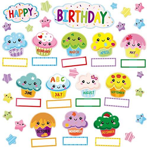 Happy Birthday Bulletin Board Set Sweet Bright Color Cupcake Classroom Decoration 78Pcs