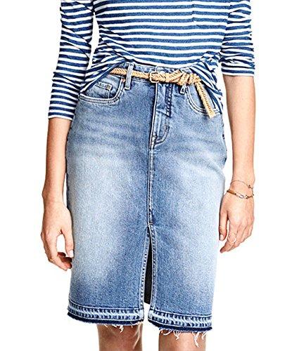 LaoZan Donna Gonna Jeans con Spacco Elegante Gonna di Jeans a Matita Lunga Fino al Ginocchio