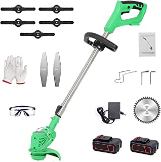 Battery Powered Lawnmower and Lawn Mower Upgraded Mini Lawnmower with Cutting Blade 24V Electric Lawnmower 2.0Ah Li-ion Ba...