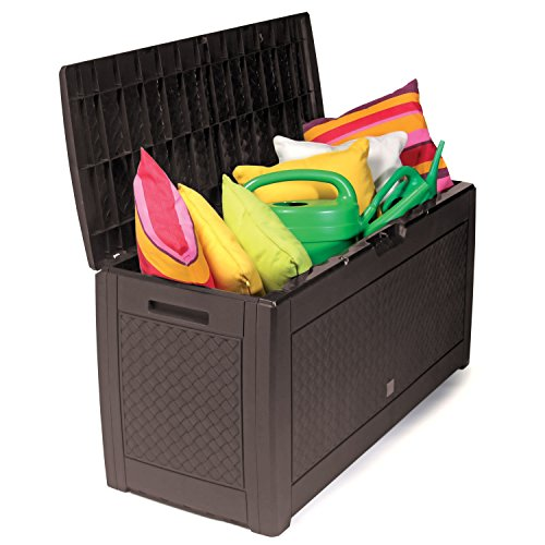 Mojawo Kunststoff Auflagenbox Kissenbox Gartenbox mit Rollen Rattan-Optik für Polsterauflagen Kunststoff wasserdicht Mokka 310Liter