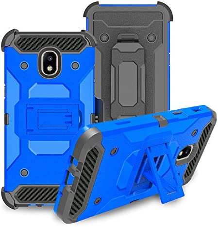 Galaxy J3 Orbit Case/J3 Star/J3 2018/J3 Achieve/J3v 3rd Gen/Express Prime 3/Amp Prime Case Holster Belt Clip w/[Tempered Glass] Shock Proof Phone Case Cover Compatible for Samsung J3 Orbit - Blue