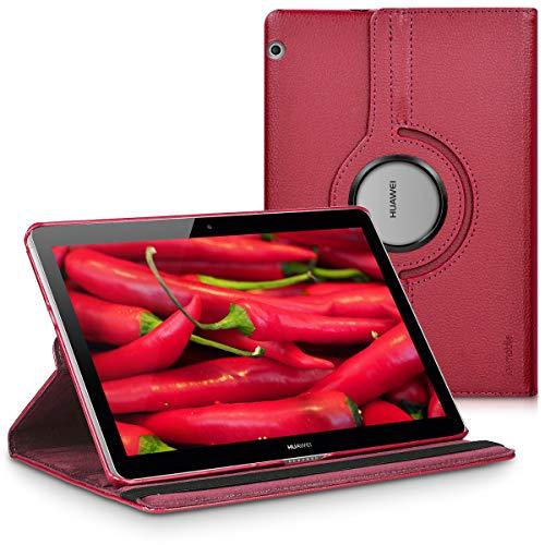 kwmobile Carcasa Compatible con Huawei MediaPad T3 10 - Funda de Cuero sintético para Tablet en Burdeos