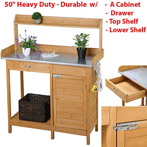 HighHoop 50' Heavy Duty Outdoor Garden Workbench Potting Bench Planter Table Wood Plating Shelf Cabinet Patio Working Space Crafting Gardening Lawn Backyard Tabletop Porch Balcony with Drawers