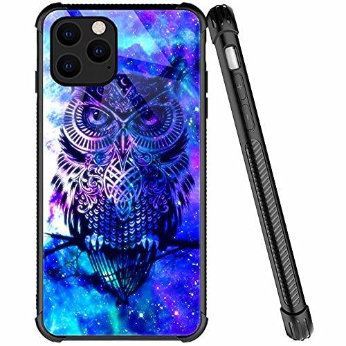 iPhone 13 Pro Max Case,Blue Shining Owl Pattern Anti-Scratch iPhone 13 Pro Max Cases for Girls Women,Four Corners Desgin Shockproof Cover Compatible with iPhone 13 Pro Max 6.7-inch