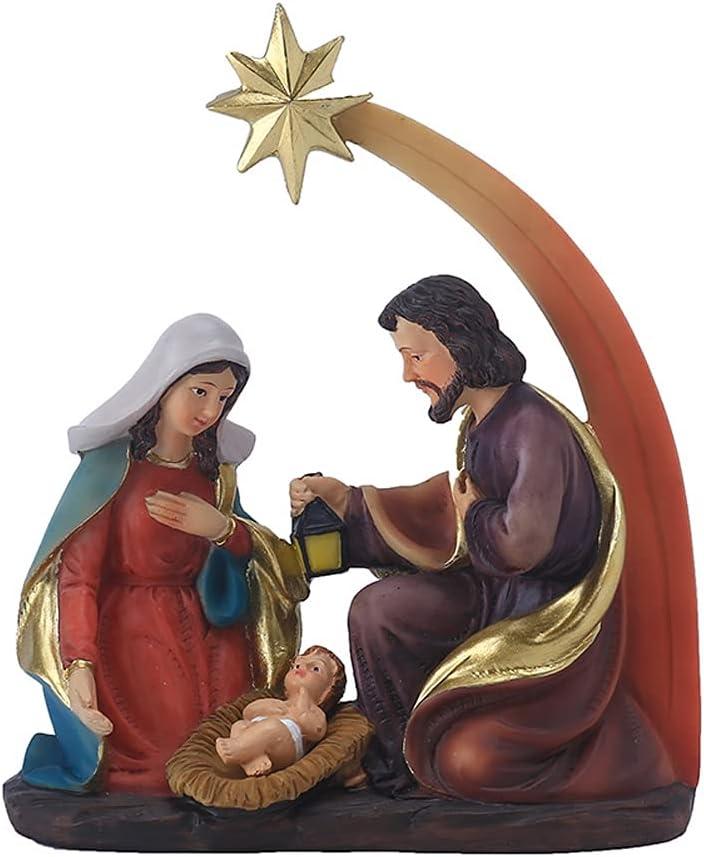 Nativity Scene - Juego de belén navideño, belén de la familia sagrada, natividad de la aldea de Navidad para decoración de interior de Navidad, minifigurita de la familia del pesebre, regalo religioso