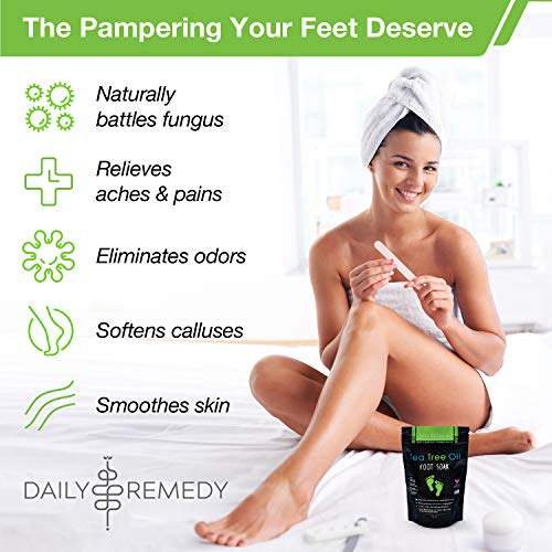Tea Tree Oil Foot Soak with Epsom Salt - Made in USA - for Toenail Fungus, Athletes Foot, Stubborn Foot Odor Scent, Fungal, Softens Calluses & Soothes Sore Tired Feet