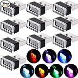 7 Luces LED Monocromo USB de Ambiente Interior de Coche, Luz 5V Enchufable Mini Kit de Iluminación para Coche, Computadora Portátil, Toma USB, Luz Noche Decoración Enchufe Extra USB, 7 Colores