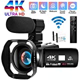 Camcorder Videokamera 4K Ultra HD 48MP WiFi Camcorder Vlogging Kamera IR Nachtsicht Camcorder Full HD Videokamera mit Externem Mikrofon