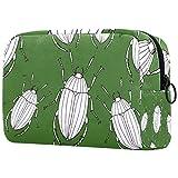 Bolsa de maquillaje personalizable, portátil, para mujer, bolso de mano, organizador de viaje, diseño de escarabajos, color verde