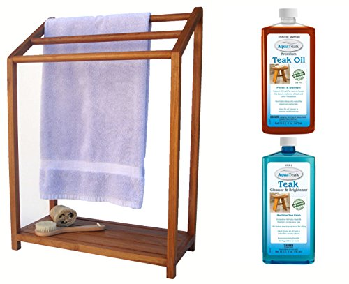 The Original Sula Versatile Teak Towel Rack & AquaTeak Two-Step Care Kit