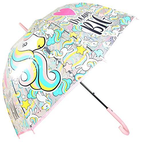 Paraguas Transparente Automático Cúpula Paraguas Infantil Paraguas Niña Paraguas Unicornio 58cm (Rosa)