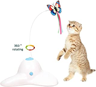 Zenes Cat Toys, Funny Exercise Electric Flutter Rotating Kitten Toys, Cat Teaser with Butterfly Replacement