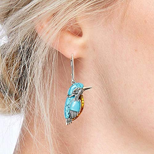 Pilink Pendientes para mujer, estilo retro, diseño de pájaro azul, turquesa con anillo grande esmaltado decoración para mujer