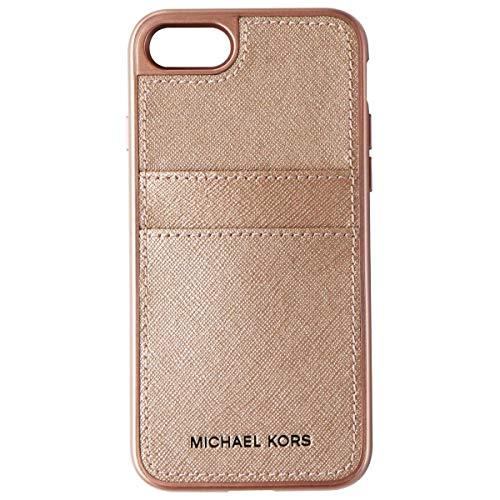 Michael Kors Saffiano - Funda de piel para iPhone 7/8, color oro rosa
