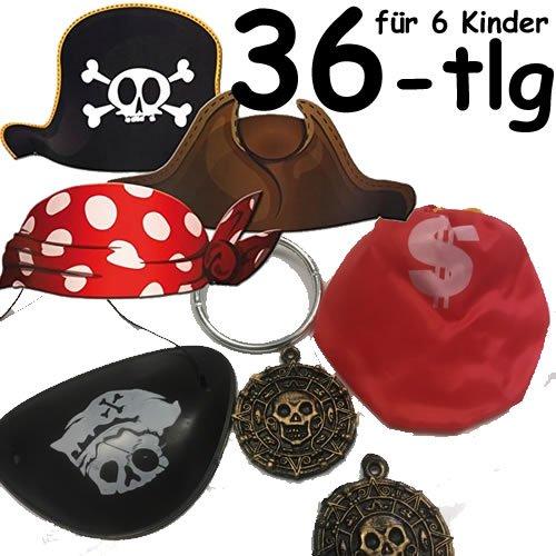 36-teiliges * KINDERPIRATEN VERKLEIDUNGS-SET * für 6 Kinder mit Piratenhüte + Augenklappen + Ohrringen + Goldsäckchen + Goldtaler // Verkleidung Piraten Party Kindergeburtstag Geburtstag