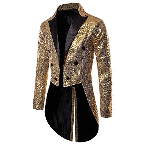 YAYAKI Mantel Abendkleid Herren Mode Slim Fit Jacken Geschäftliche Freizeit Steampunk Herrenjacke Frackjacke Gothic Vintage Uniform Knopfdekoration Lange Ärmel Smoking (Gold,2XL