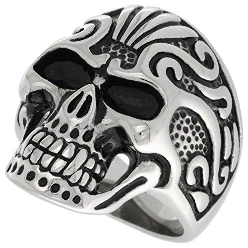 Sabrina Silver Stainless Steel Vampire Skull Ring Tribal Tattoos Biker Rings for Men Size 13