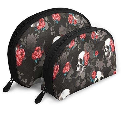 Trousse de Maquillage Noir crâne et Rose Rouge Organisateur de Toilette Portable Shell pour Les Femmes Voyage Pack 2