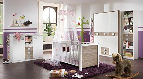 lifestyle4living Babyzimmer, Kinderzimmer, Komplett-Set, Babymöbel, Junge, Mädchen, Kleiderschrank, Wickelkommode, Babybett, weiß, Sägerau, Eiche