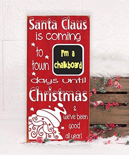 Ruskin352 Weihnachten Countdown Advent Schild Holz Subway Schild 10x18 Weihnachten Countdown Adventskalender Tage bis Weihnachten Kreidetafel Countdown